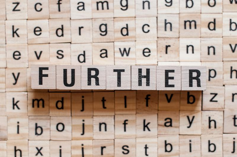 Further word concept. On cubes royalty free stock photo