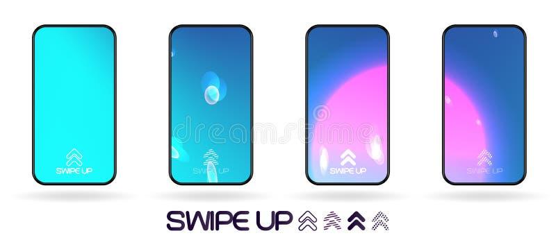 Furto abstrato da tela do smartphone do espa?o acima do molde ilustração royalty free