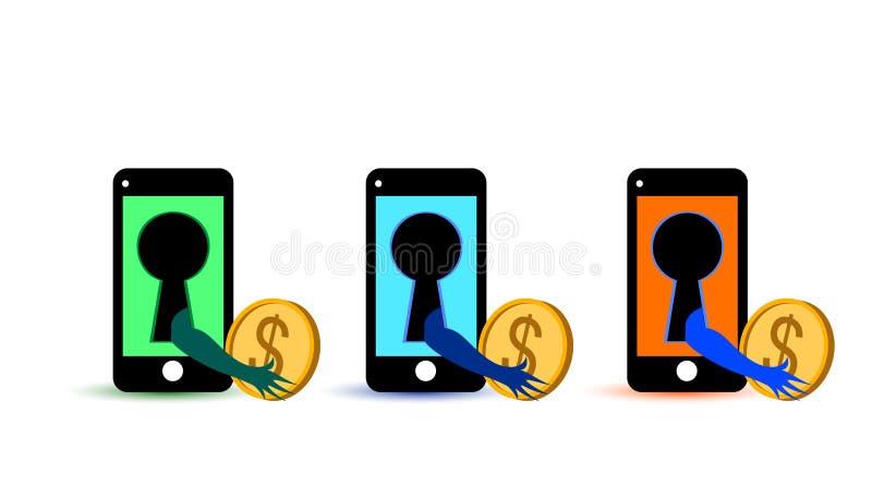 Furto di soldi da un virus in un telefono cellulare royalty illustrazione gratis