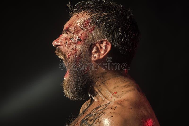 fury Grito do moderno com a barba ensanguentado no perfil brutal da cara imagens de stock