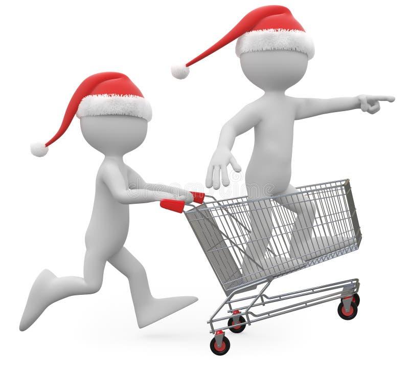 fury kapeluszowy mężczyzna dosunięcia Santa zakupy royalty ilustracja