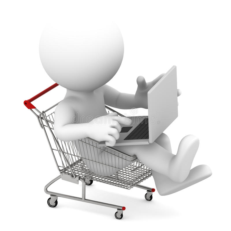 fury zakupy laptopu mężczyzna zakupy ilustracji