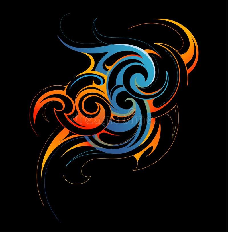 Fusão da água e do fogo ilustração royalty free