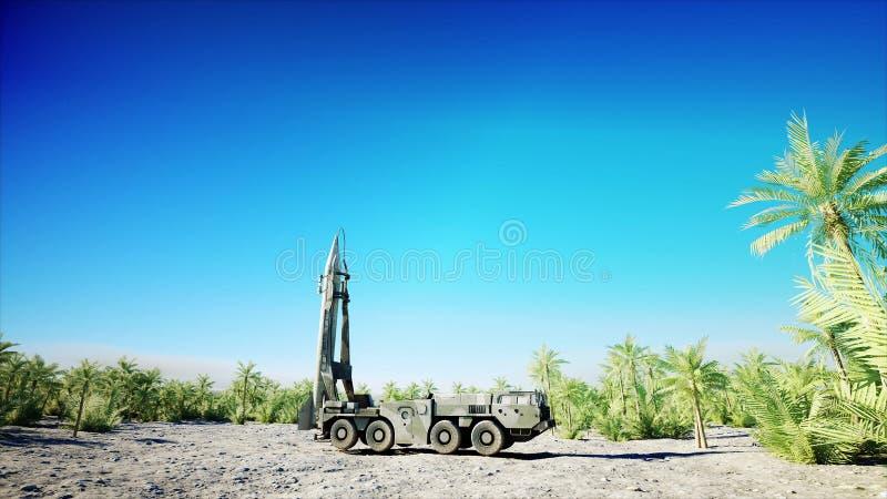 Fusée ballistique nucléaire, complexe Fusée de lancement, rendu de la poussière 3d illustration de vecteur