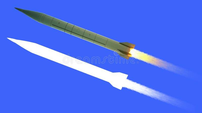 Fusée ballistique nucléaire isolat rendu 3d illustration libre de droits