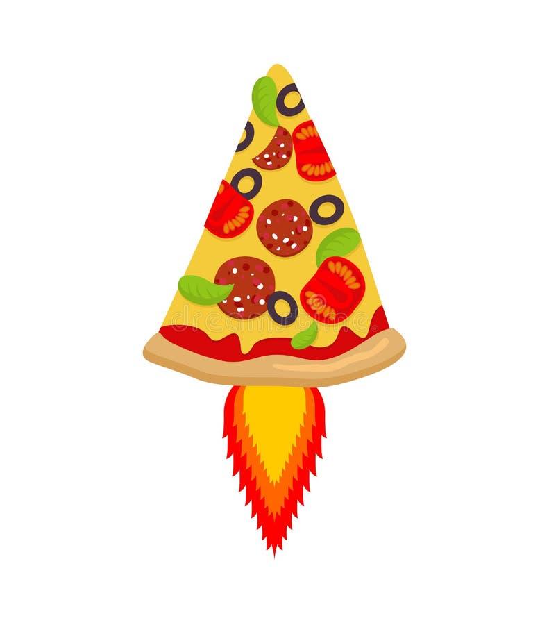 Fusée chaude de pizza Morceau d'aliments de préparation rapide et de flamme illustration libre de droits