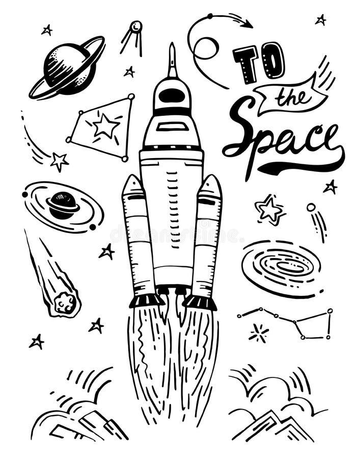 Fusée d'espace de lancement Dirigez l'ensemble d'éléments tiré par la main de croquis cosmique d'illustration d'isolement et cite illustration stock