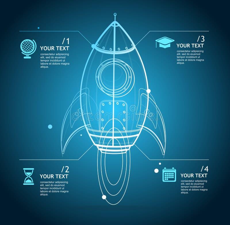 Fusée de vecteur infographic illustration stock
