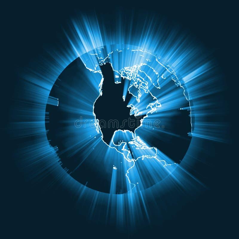 Fusée globale rougeoyante de faisceau lumineux de l'Amérique illustration libre de droits