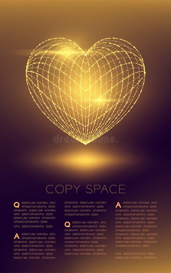 Fusée légère de structure et de lentille de cadre de bokeh futuriste de polygone de wireframe d'icône de coeur, illustration de c illustration stock