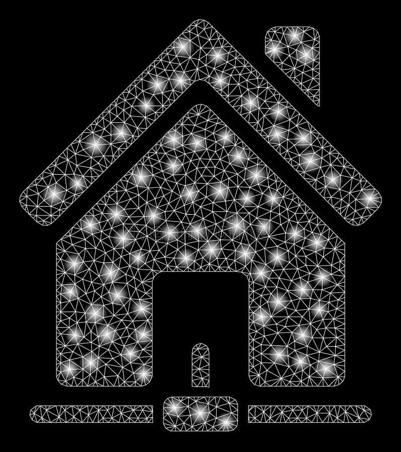 Fusée Mesh Carcass Home Internet Connection avec des taches de fusée illustration libre de droits