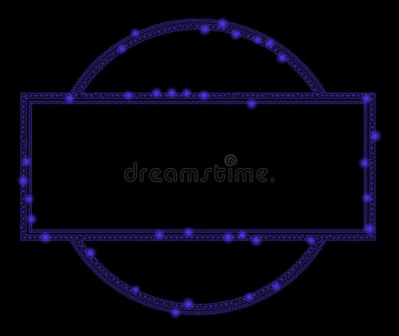 Fusée Mesh Wire Frame Double Round et cadre de rectangle avec des taches de fusée illustration de vecteur