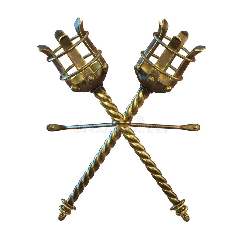 Fusée ou torche d'or médiévale, isolat de l'illustration 3d photo libre de droits