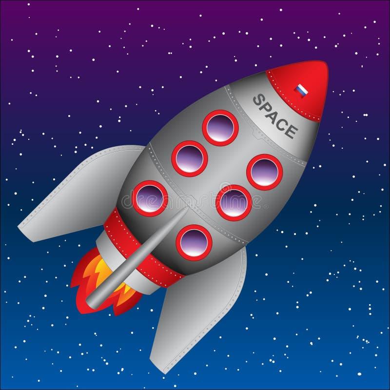 Fusée ou vaisseau spatial de vecteur Jour international de l'espace humain illustration de vecteur