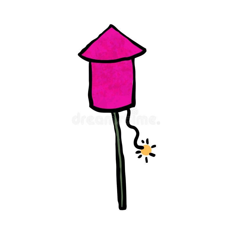 Fusée rose de feu d'artifice illustration stock