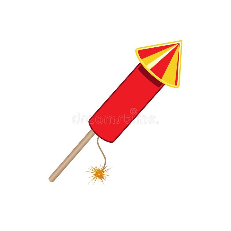 Fusée rouge de feu d'artifice d'isolement sur le fond blanc Concept de partie d'amusement Illustration de vecteur illustration de vecteur