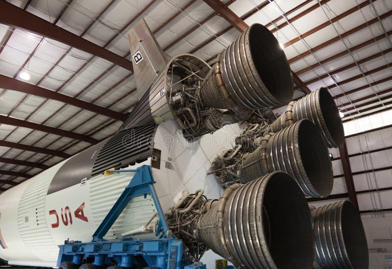 Fusée Saturn v au ` s Johnson Space Center de la NASA photographie stock libre de droits
