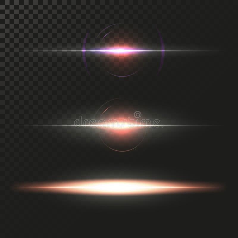 Fusées abstraites de lentille réglées Étoiles rougeoyantes Lumières d'explosion sur le fond transparent Frontières brillantes Ill illustration libre de droits
