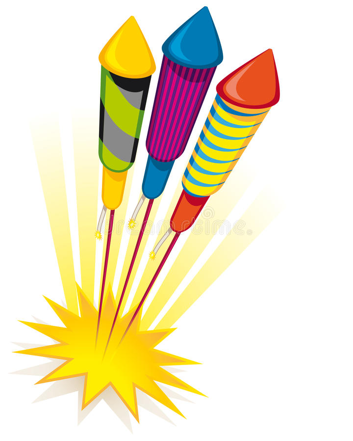 Fusées de feu d'artifice illustration de vecteur