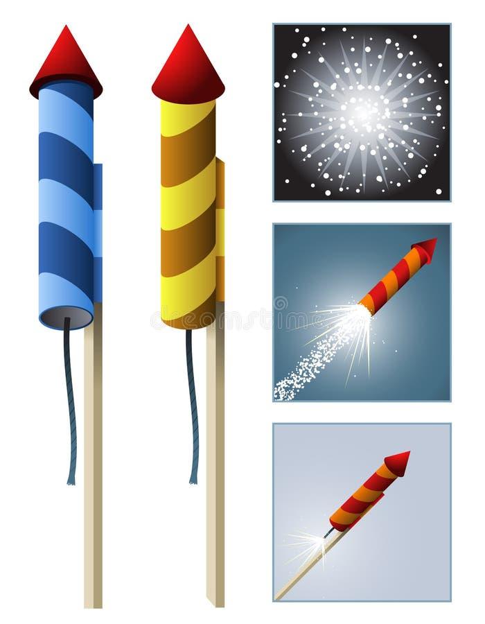 Fusées de feux d'artifice avec l'ordre illustration stock