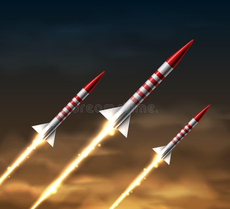 Fusées de vol illustration de vecteur