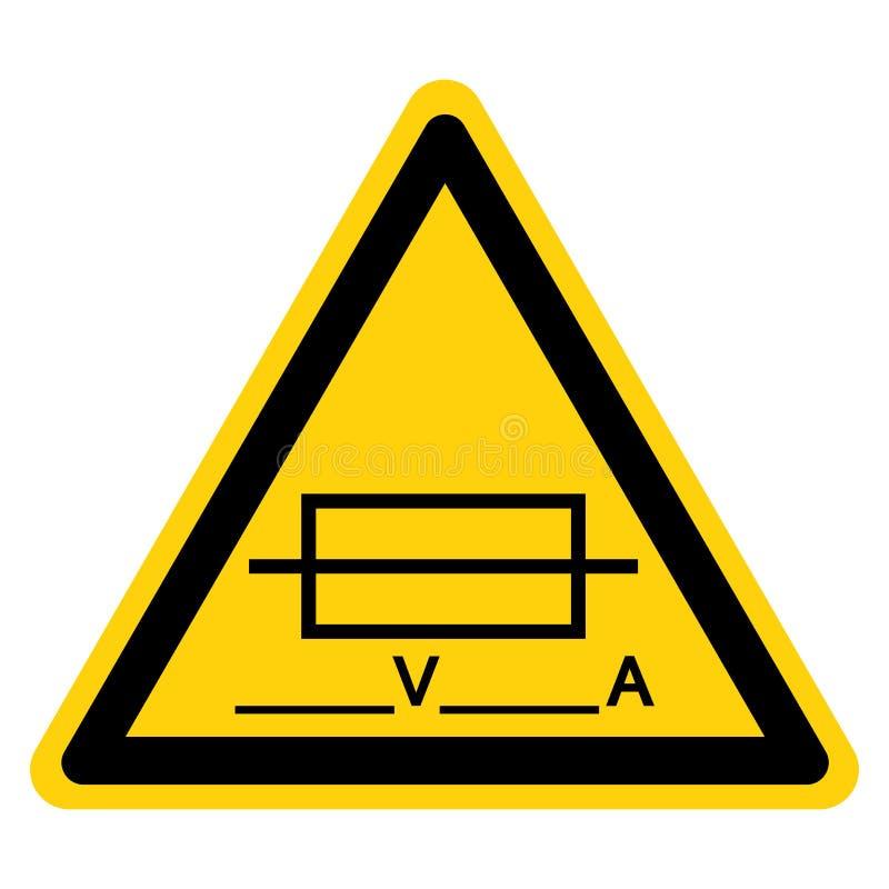 Fusível ( Writable) Isolado do sinal do símbolo no fundo branco, ilustração do vetor ilustração royalty free