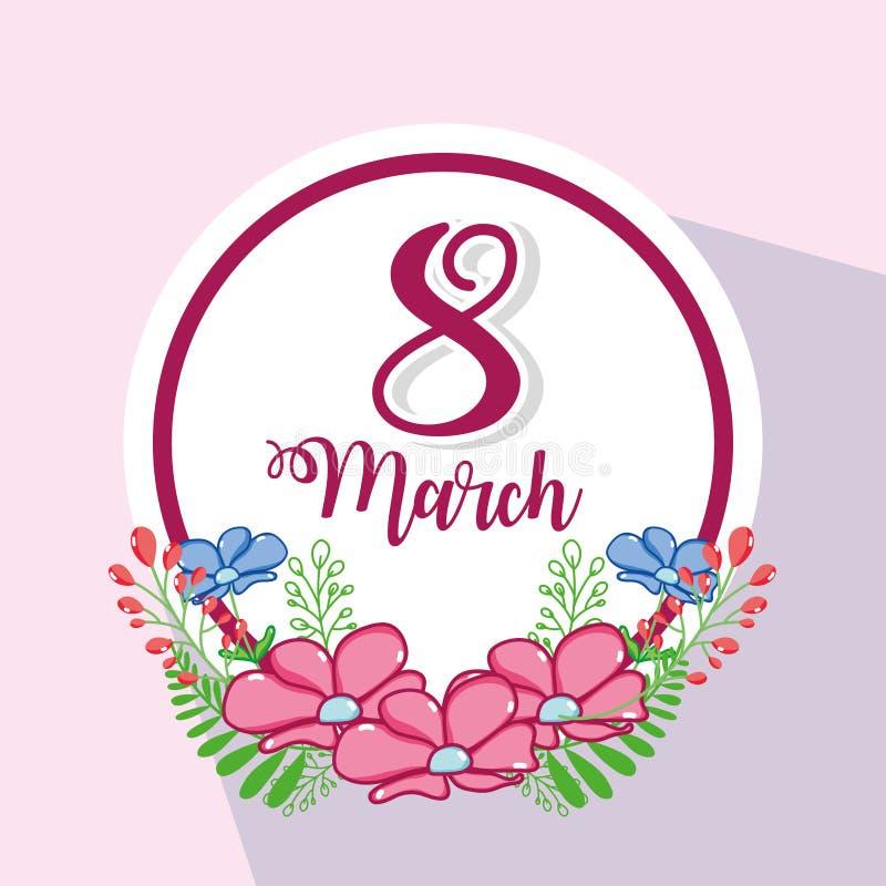 Fuscia marsch 8 med blommadesign royaltyfri illustrationer