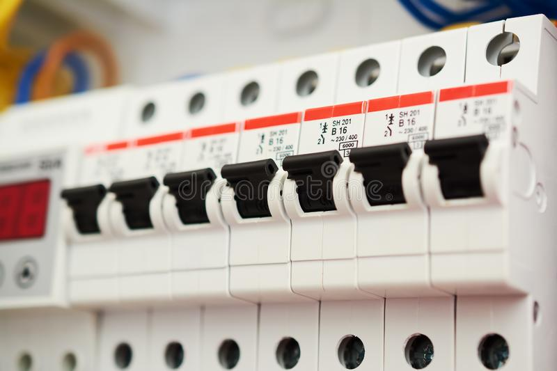 Fuse box, power supply circuit breakers. Voltage switchboard with electric automatic. Control panel electrical switches home royalty free stock photo