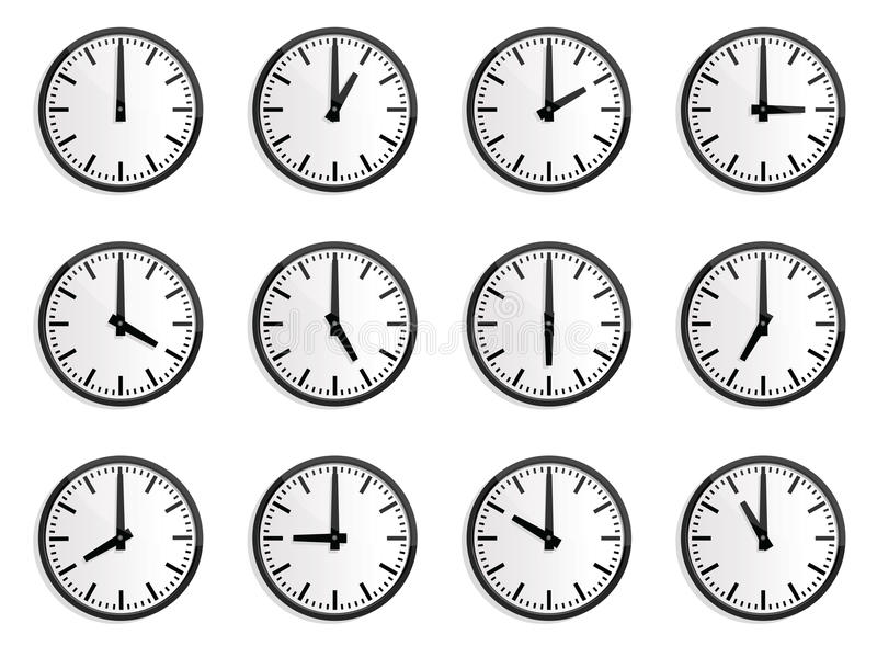 Fuseau horaire du monde, horloge de mur   illustration libre de droits