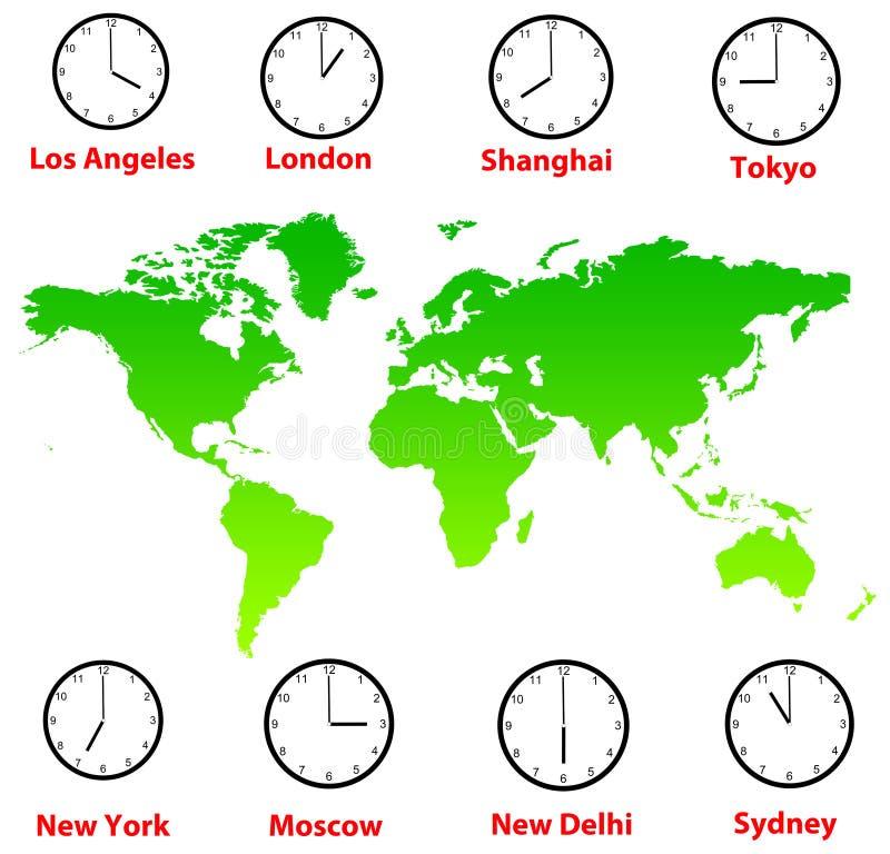 Fuseaux horaires du monde illustration de vecteur