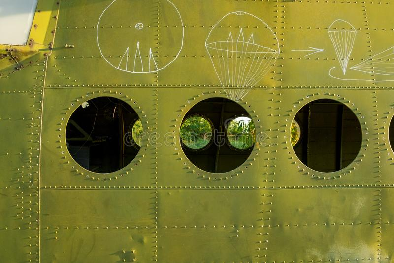 The fuselage of the aircraft is green. Background royalty free stock photography