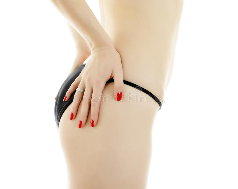 Fuselage de femme dans le maillot de bain noir. photos libres de droits