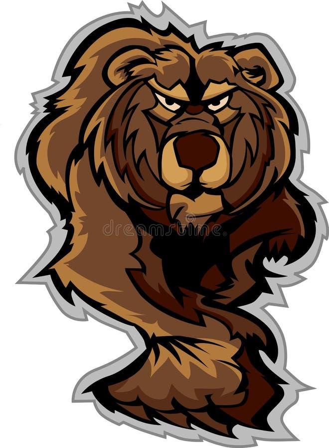 Fuselage de mascotte d'ours gris rôdant illustration de vecteur