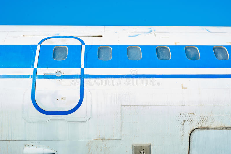 Fuselage of old soviet passenger aircraft. Close up stock image