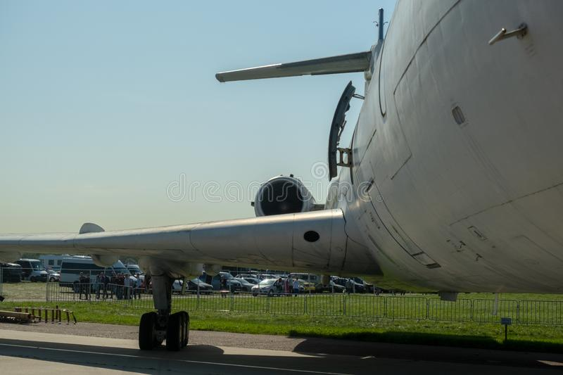Fuselage, wing, engine and landing gear. View of the side of the aircraft stock photo