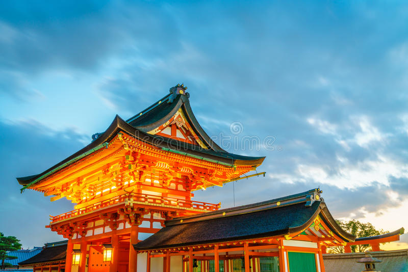 Fushimiinari Taisha ShrineTemple i Kyoto, Japan royaltyfri foto
