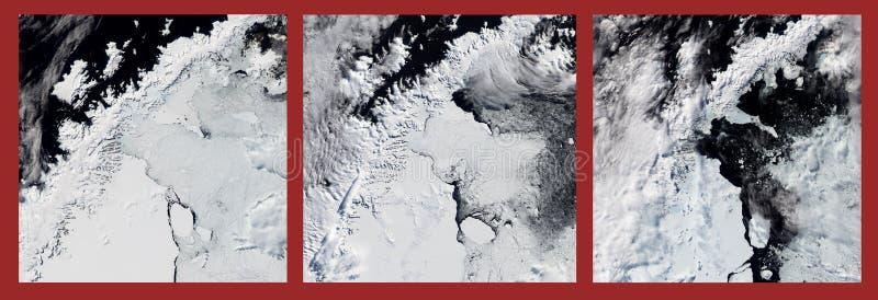 Fusión del estante de hielo Peligro del cambio de clima Algunos gráficos son proporcionados por la NASA fotos de archivo