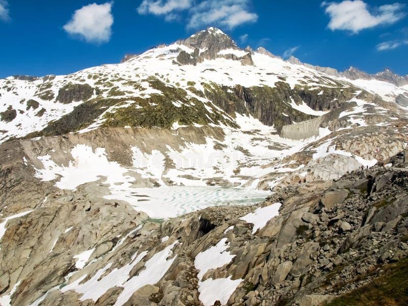 Fusión del glaciar de Rhone fotografía de archivo