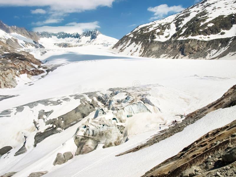 Fusión del glaciar de Rhone fotografía de archivo libre de regalías
