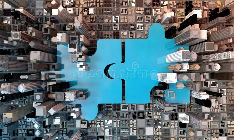 Fusie en aanwinsten het bedrijfsconcept, sluit zich aan 3d bij raadsel stock illustratie