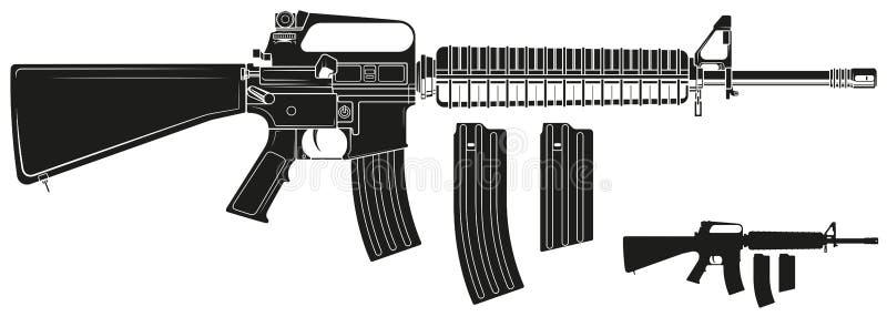 Fusil américain automatique moderne de silhouette graphique illustration de vecteur