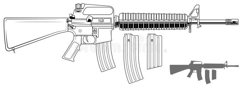 Fusil américain automatique moderne graphique illustration de vecteur