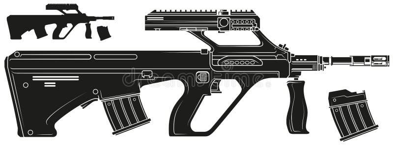 Fusil automatique moderne de bullpup de silhouette graphique illustration stock