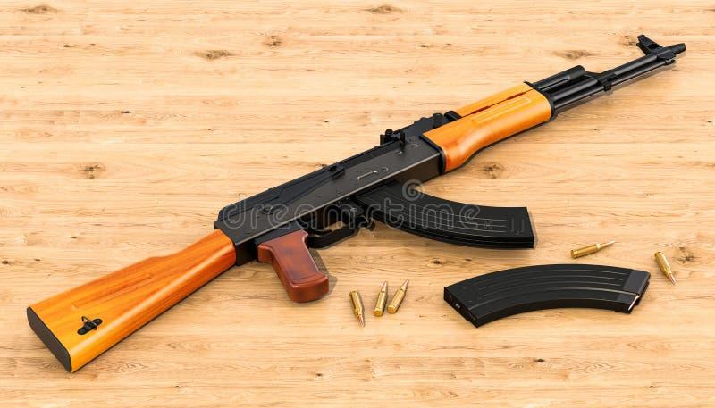 Fusil d'assaut avec la magazine et les balles sur la table en bois, 3D illustration de vecteur