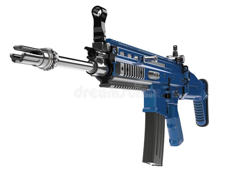 Fusil d'assaut moderne métallique de bleu marine - tir de plan rapproché de vue de face illustration stock