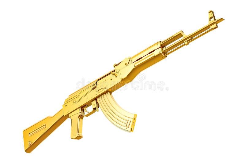 Fusil d'assaut d'or, rendu 3D illustration de vecteur
