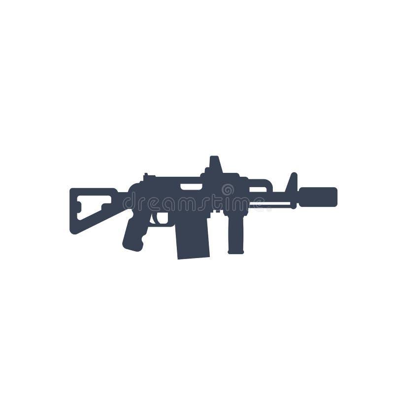Fusil d'assaut tactique avec l'icône de silencieux illustration stock