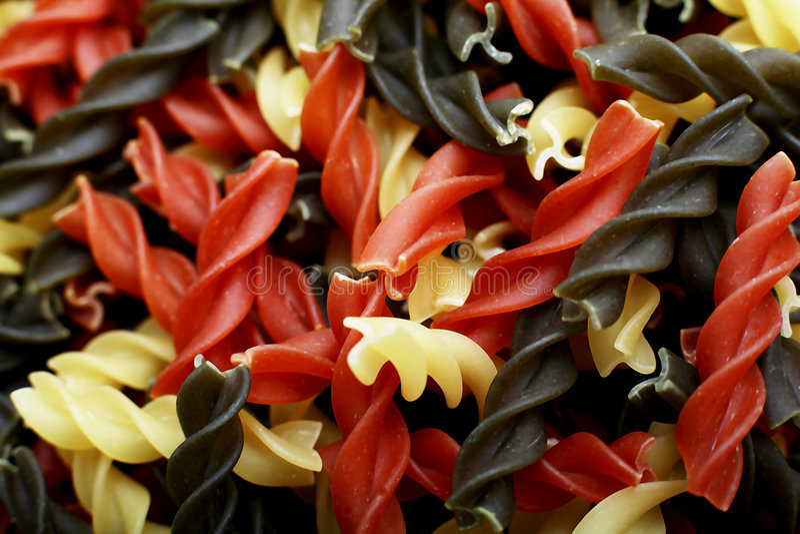 Fusili tricolore pasta shells royalty free stock photography