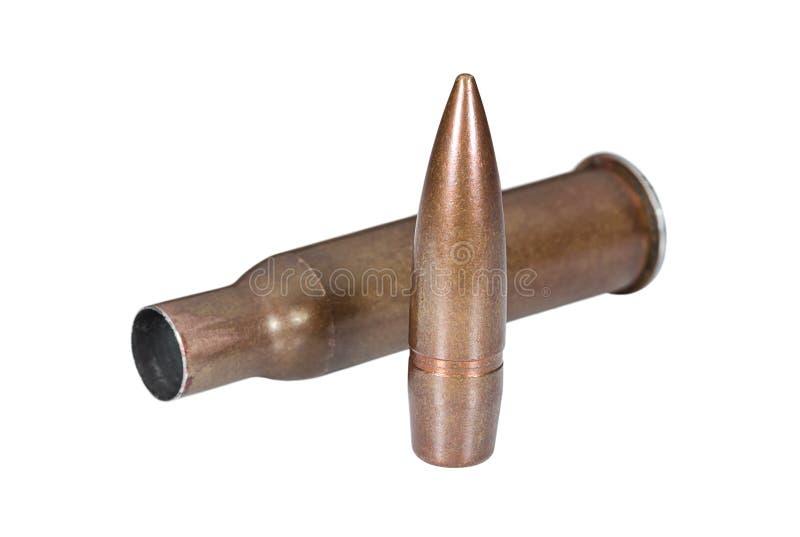 Fusillez l'arme à feu de cartouche de balle et de tir sur le blanc photographie stock libre de droits