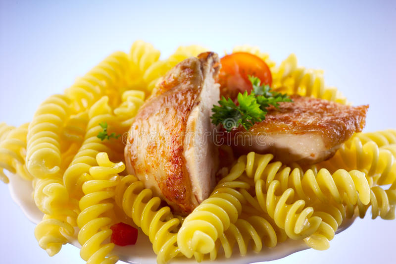 Download Fusilli With Chicken Isolated Stock Image - Image: 29496747